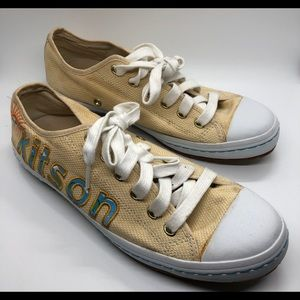 Kitson yellow tie up sneakers